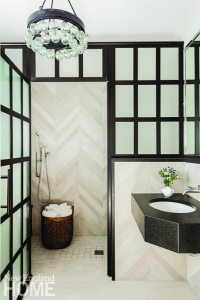 Frosted-glass shower enclosure