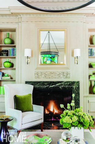 Green marble fireplace