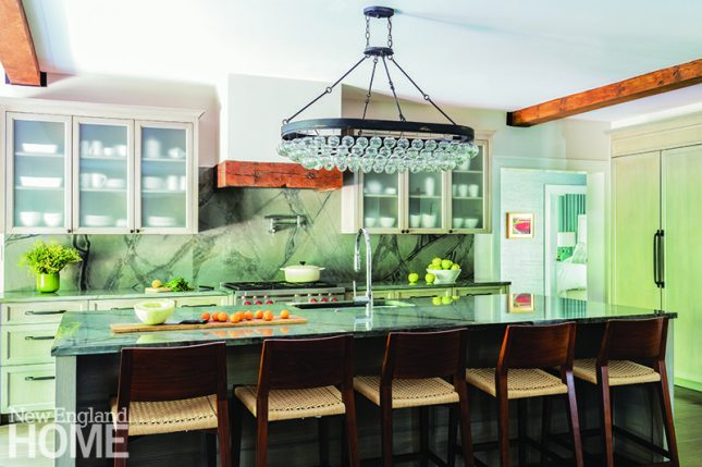 Brookline kitchen with green marble countertop
