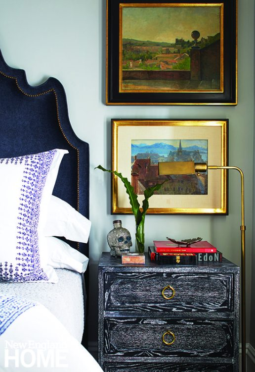 Two small paintings purchased at a European Masters auction at Sotheby's hold pride of place in the bedroom.