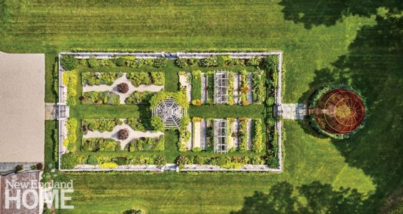A bird's-eye view underscores the sunny garden's appealing symmetry.