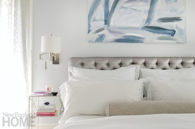 Master bedroom with silver headboard