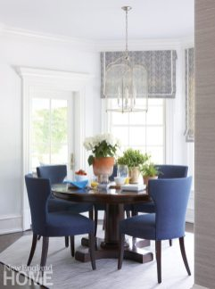 Breakfast nook with round table and blue velvet chairs