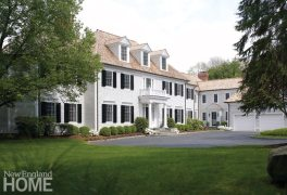 Exterior white traditional house in New Canaan
