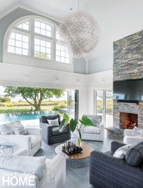 Swivel chairs in the pool house are perfect for fire-gazing or pool-watching.