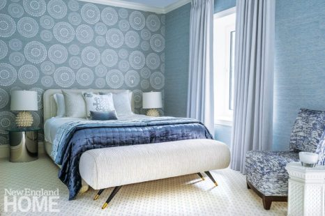 Guest bedroom with Phillip Jeffries wallpaper