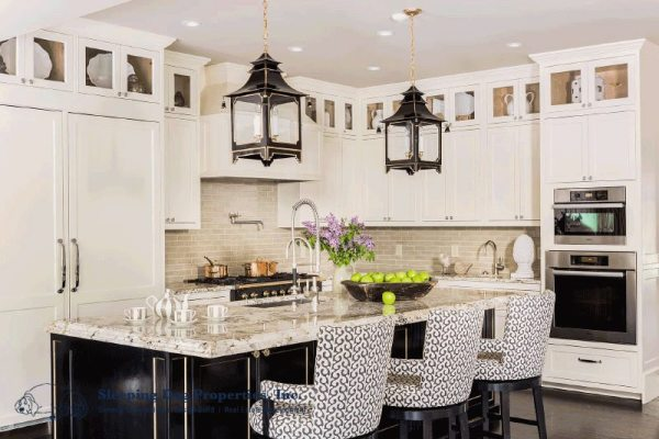 Farmhouse kitchen with black and white cabinetry