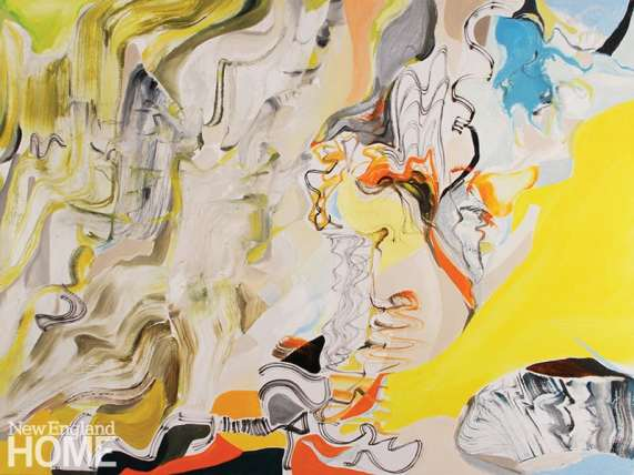 """Ascending (2013), collage and oil on canvas, 36""""H × 48""""W."""