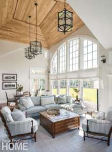 Large family room with wood ceiling
