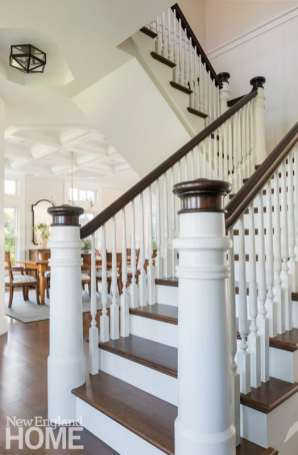 Newel posts at the foot of the staircase are carved to resemble the nearby Chatham lighthouse.