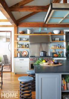 Country kitchen with wood shelves