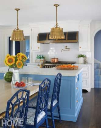 Kitchen with blue island