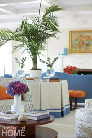 Living room with skirted table