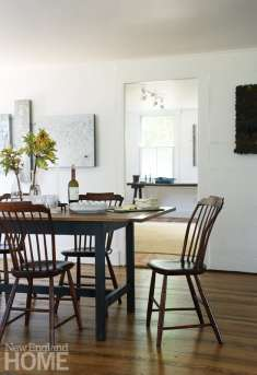 Dining room with antique Windsor chairs