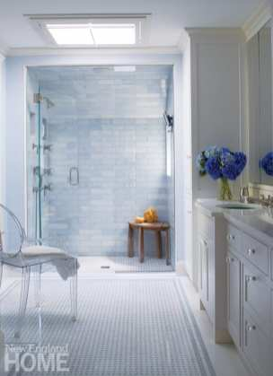 Marble-tiled shower