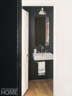 Small black powder room
