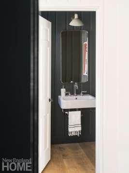 Small black powder room