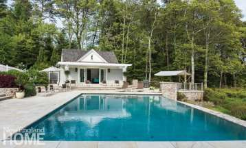 Cape Cod pool Shingle-style home