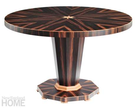 Rose pedestal table in Macassar ebony, maple, and Swiss pear wood.