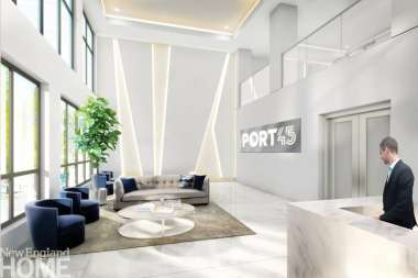 Wolhardt plays with negative and positive space in her backlit wall design in the lobby of Port45 in South Boston.
