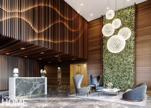 The lobby at Boulevard on the Greenway features a vertical installation of freeze-dried greenery.