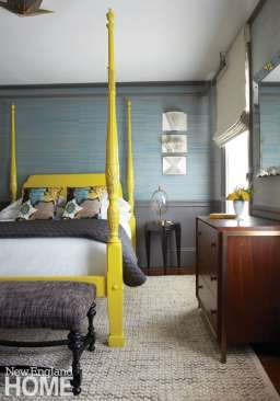 Guest room with grasscloth and yellow bed