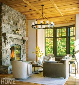 Vermont shingle style home living space