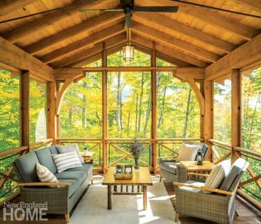 Vermont shingle style home potting shed with timber-frame screened porch