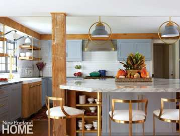 Light blue kitchen with rustic beams