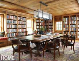Library with reclaimed white oak walls and ceilings