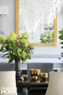 Dining table with gold bowls