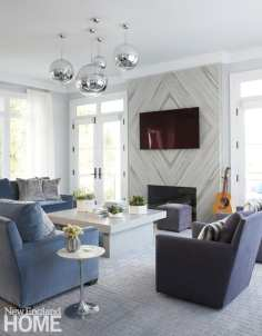 family room with Tom Dixon pendants