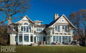 Rear Exterior Shingle style home Westport CT