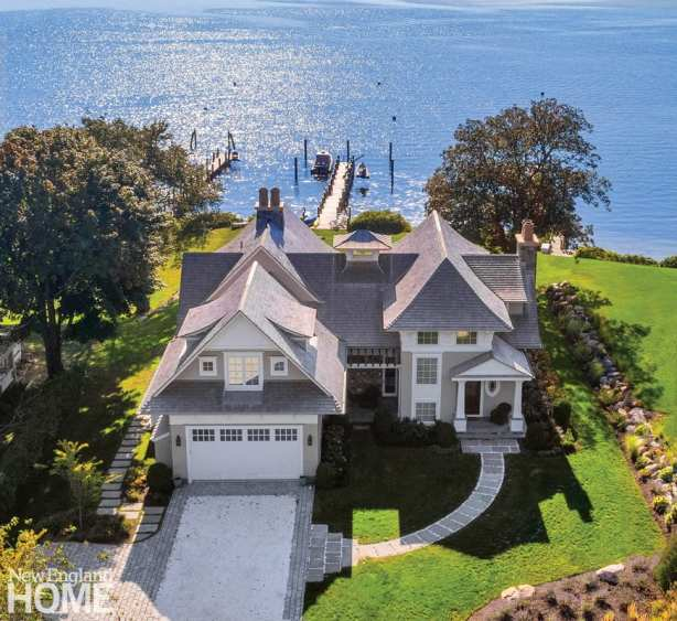 Aerial view Shingle style home by Peter Cadoux