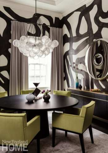 Dining room with bold painted wallpaper