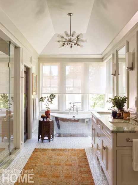 Bathroom with polished nickel tub
