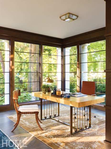 Home office with floor to ceiling windows