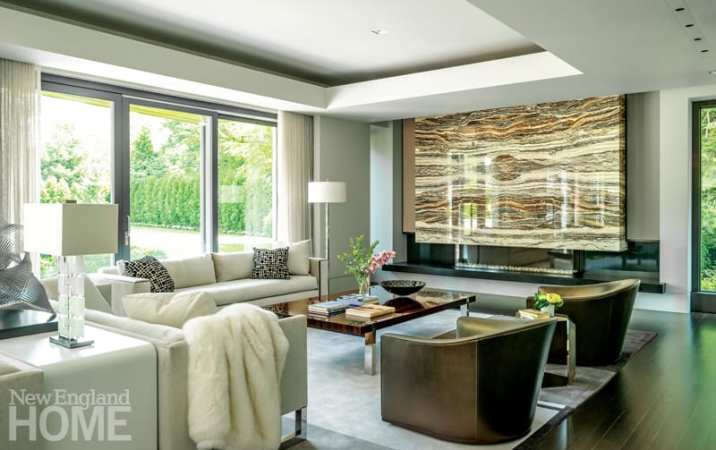 Family room with large slab of decorative marble
