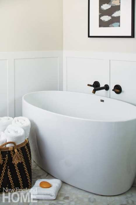 A deep Fleurco tub in the master bath promotes relaxing.