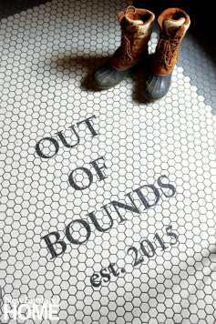 mudroom tile floor, duck boots, out of bounds