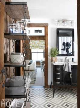 Jack-and-Jill bathroom, open shelving, floor tiles,