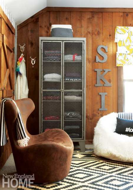 Industrial cabinet, ski sweaters, ski house, bedroom, ski sign