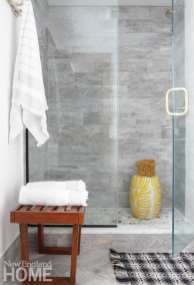 master bathroom, hardwood tile, stone shower