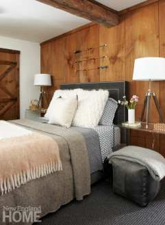 master bedroom, rustic, wood walls, Lucite nightstands