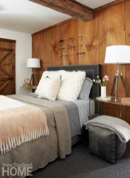 master bedroom, rustic, wood walls, Lucite nightstands