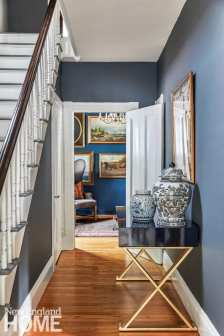 entryway, stairway, console, thundercloud gray