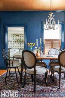 dining room, Hague Blue, vintage chandelier,