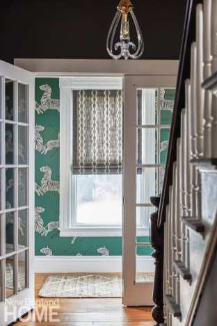 Scalamandre wallpaper, zebras, vestibule
