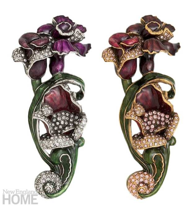 Whimsical knobs and pulls are crafted with Swarovski crystals and transparent enamel.