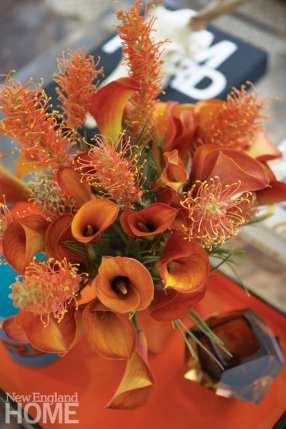 orange flowers, Italian glass tray